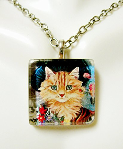 WON'T YOU BUY MY PRETTY FLOWERS nursery rhyme cat pendant with chain - CGP01-058