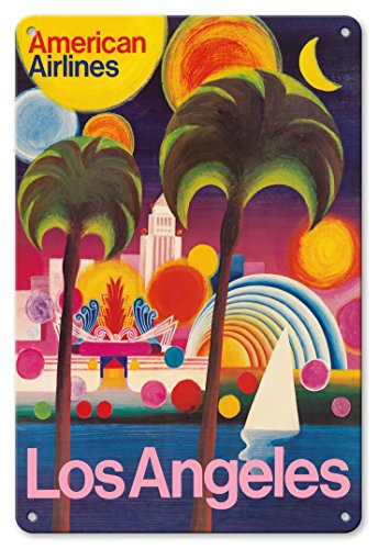 Pacifica Island Art 8in x 12in Vintage Tin Sign - Los Angeles, California - American Airlines