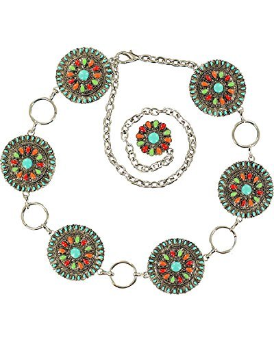 Silver Link Concho Belt (Nocona Belt Co. Women's Nocona Multi-Color Concho Link Belt Accessory, -silver, Extra Large)