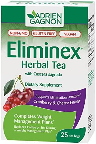 Adrien Gagnon - Eliminex Herbal Tea Cranberry & Cherry, for Elimination of Intestinal Waste, 25 Tea Bags