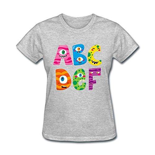 Wanenkser Funny Halloween Alphabet Monsters T Shirt For Women