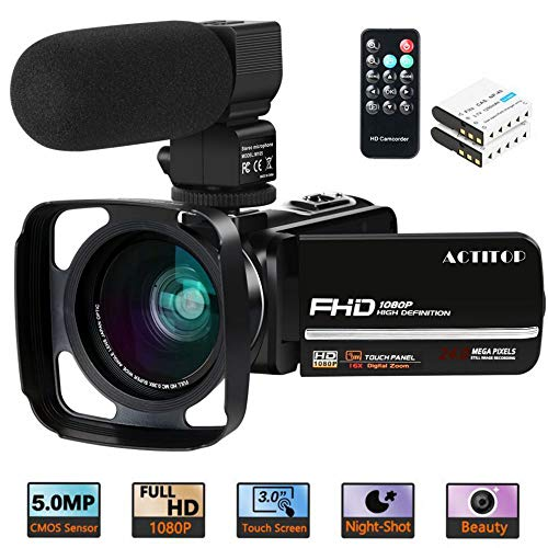 (Camcorder Video Camera,ACTITOP 1080P 30FPS IR Night Vision YouTube Vlog Camera 16X Digital Zoom Touch Screen Video Recorder with Microphone,Wide Angle Lens,Remote Control,2 Batteries and Lens Hood)