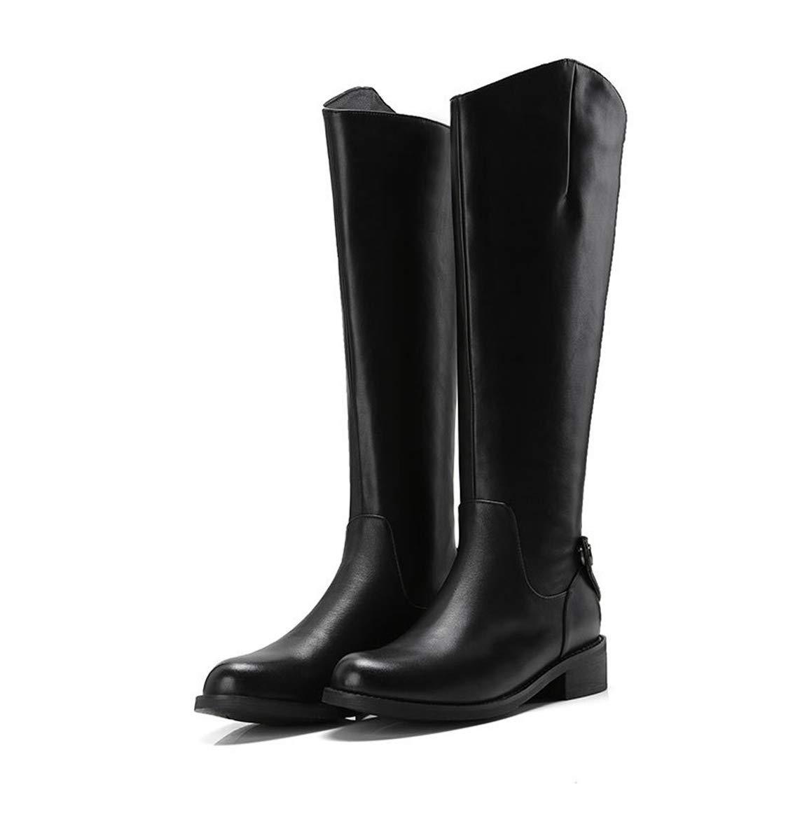 0a3bd8420d9d7 DANDANJIE Ladies Stiefel Winter Low Heel Knee Fashion Zipper Knight ...