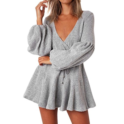 Rambling New Womens Long Sleeve Sexy Deep V Loose Camisole Pleated Skirt Mini Bandage Fashion Dress by Rambling