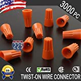 3000 PCS Orange 22-14 Gauge Twist On Wire Gard Connectors Conical Nuts Barrel Screw US