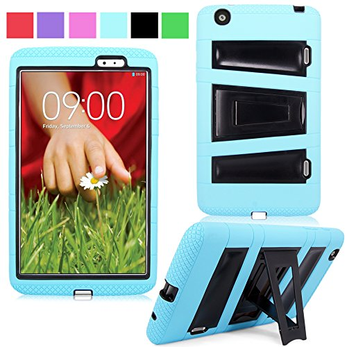 """Cellularvilla Kickstand Case for LG G Pad 8.3"""" Inch Baby Blue Black Hybrid Armor Hard Soft Kickstand Case Cover Protector with Stand"""