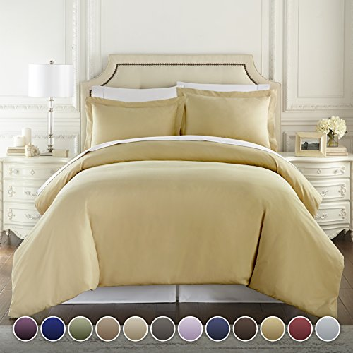 Hotel Luxury 3pc Duvet Cover Set-1500 Thread Count Egyptian Quality Ultra Silky Soft Premium Bedding Collection-King Size Camel ()