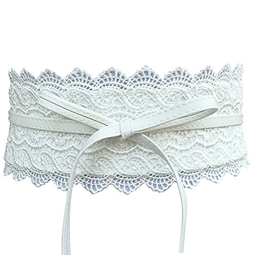 (Women's Lace Waist Belt Bow Tie Wrap Around Soft Leather Boho Corset Fashion Elegant for Dresses (White) )