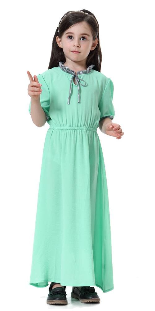 Ababalaya Muslim Islamic Girls Cute Lace-up Bow Neck Short Sleeve Solid Long Maxi Dress,Light Green,Fits Girls' Height 4'11''