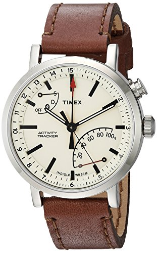 Timex Unisex Tw2p92400 Metropolitan  Activity Tracker Smart Watch With Brown Leather Strap