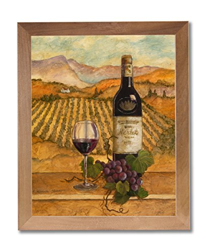 Merlot Wine Grapes with Vineyards Painting Wall Picture Honey Framed Art Print ()