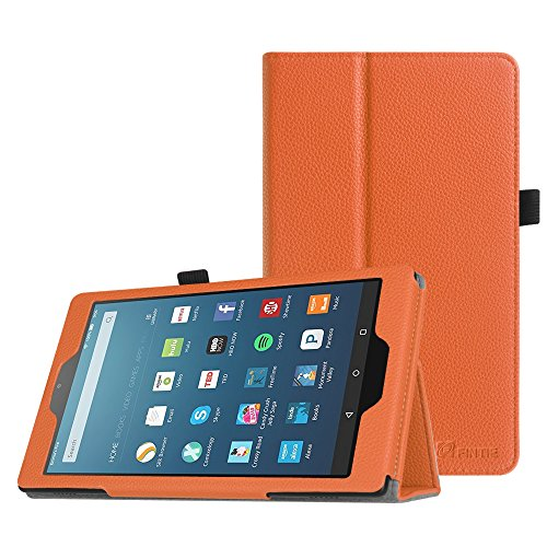 Fintie Folio Case for All-New Amazon Fire HD 8 Tablet (7th Generation, 2017 Release) - Slim Fit Premium Vegan Leather Standing Protective Cover with Auto Wake / Sleep, Orange