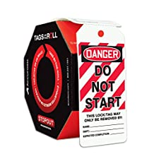 """Accuform Signs TAR476 Tags By-The-Roll Lockout Tags, Legend """"DANGER DO NOT START"""", 6.25"""" Length x 3"""" Width x 0.010"""" Thickness, PF-Cardstock, Red/Black on White (Roll of 250)"""