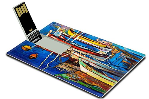 Luxlady 32GB USB Flash Drive 2.0 Memory Stick Credit Card Size Original oil painting of boats and jetty pier on canvas Rich golden Sunset IMAGE - For Sale Jetty