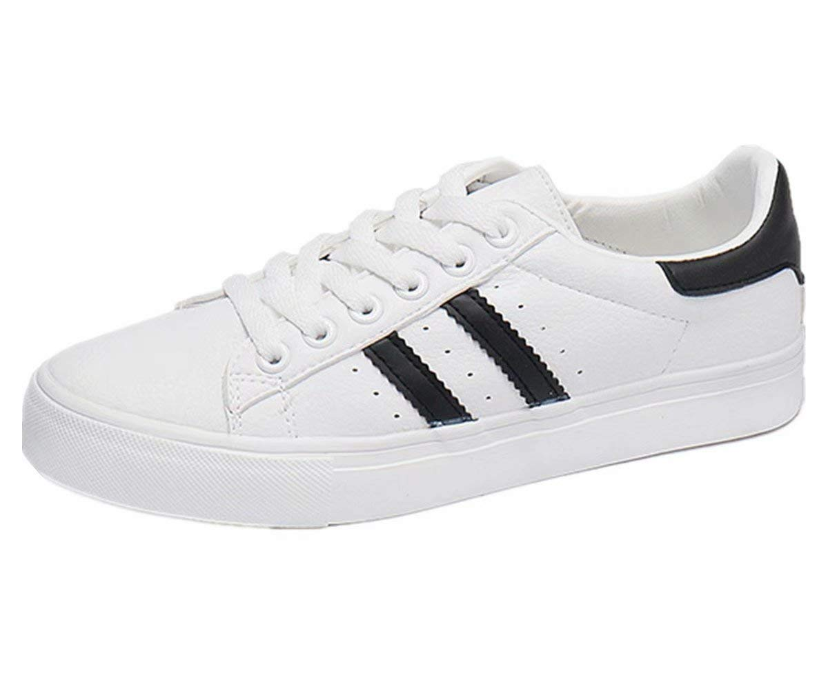 ANBOVER Womens Classic Sneakers Breathable White Shoes Walking Sport Street Shoes Black 38