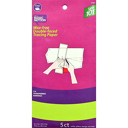 - Dritz Sew 101 27509 Wax Free Double Faced Tracing Paper, 3 x 19-1/2-Inch, Assorted Colors (5-Count)