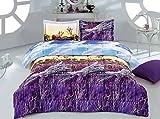 3 Piece Box Stitched 3d Lavender Prints Faux Fur Comforter Set (D010) (Queen)