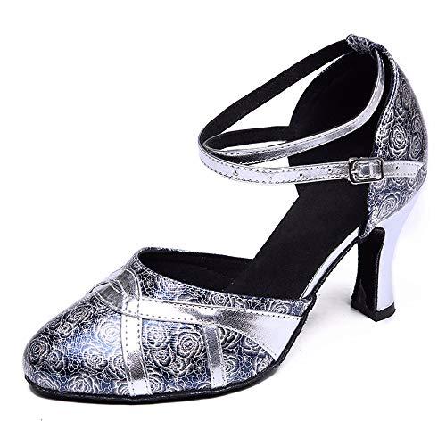 Shangyi Zapatos de Baile Modernos Impresos Baotou de Mujeres Zapatos de Baile Latino con Zapatos de Baile de Fondo Blando