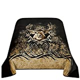 CaliTime Brand Super Soft Throw Blanket, Moment of Truth Buck Head, King Size