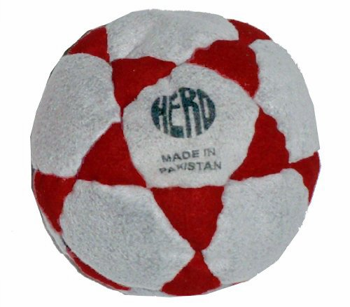 Hero Grey & Red 32-Panel Hacky Sack/Footbag - Comes with Tips & Game Instructions - (Best Hacky Sack For Beginners)