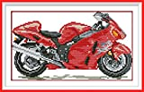 NKF Cross Stitch Kit, Red motorcycle, 11CT Stamped, 38cmX23cm or 14.82
