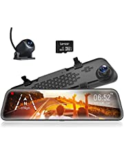 """WOLFBOX 12"""" Mirror Dash Cam Backup Camera, 1296P Full HD Smart Rearview Mirror for Cars & Trucks, Sony IMX335 Front and Rear View Dual Lens, Night Vision, LDWS, Parking Assistance, Free 32GB Card & GPS"""