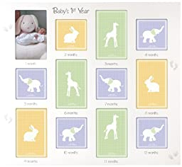 Malden International Designs Baby\'s 1st Year Wall Collage Picture Frame, 12 Option, 6-4x6 & 6-4x4, White