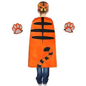 iROLEWIN Animal Kostüm Tiger Kinder Umhang und Maske mit Pfote für ...