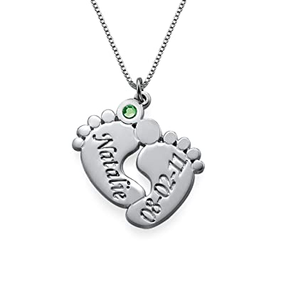 Amazon mothers day jewelry engraved baby feet pendant mothers day jewelry engraved baby feet pendant necklace with personalized birthstone custom made with aloadofball Choice Image