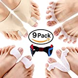 9Pcs Bunion Corrector & Bunion Relief Protector Sleeves Kit - Treat Pain in Hallux Valgus, Big Toe Joint, Hammer Toe, Toe Separators Spacers Straighteners Splint Aid Surgery Treatment