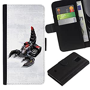 Paccase / Billetera de Cuero Caso del tirón Titular de la tarjeta Carcasa Funda para - Scorpion Robot Art Technology Future Gaming - Samsung Galaxy S5 Mini, SM-G800, NOT S5 REGULAR!