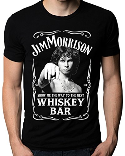 Jim Morrison Show Me The Way To Next Whiskey Bar Doors Logo Men's T-Shirt X-Large (Bar Logo Tee)