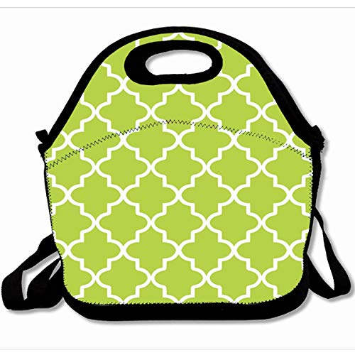 Ahawoso Reusable Insulated Lunch Tote Bag Chic Modern Lime Green And White Moroccan Lattice 10X11 Zippered Neoprene School Picnic Gourmet Lunchbox