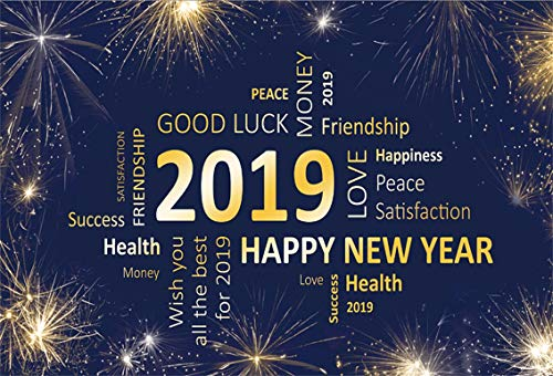 CSFOTO 7x5ft Background for Fireworks in Sky Best Wishes 2019 Photography Backdrop All The Best for 2019 New Year Party Decor New Year Blessing Celebration Photo Studio Props Polyester Wallpaper