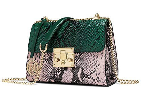 - LAORENTOU Women's Genuine Leather Crossbody Bag Snakeskin Pattern Shoulder Bags Purse Valentine's Day gift