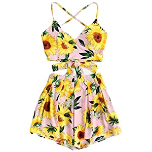 Mose Shorts for Women, Camisole Sunflower Print Suspenders Shorts Two-Piece Beachwear V-Neck Crop Tops Mini Skirt