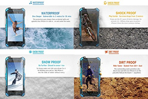 """R-Just IP68Unterwasser-Schutzhülle für iPhone 6Plus (5,5""""-Display, stoßfest, vollständige Versiegelung, schützt vor Wasser, Schnee und Staub, aus solidem Metall und gehärtetem Glas, unterstützt Touc"""