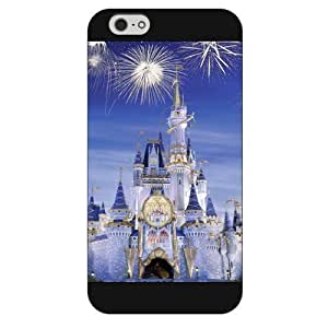Customized Black Hard Plastic Disney Castle Case Cover For Apple Iphone 4/4S Case, Only fit Iphone 5/5S +