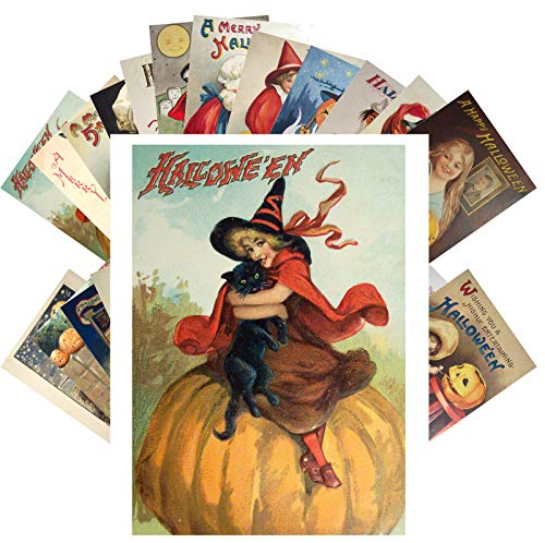 Vintage Halloween Card (Postcard Set 24 cards CUTE HALLOWEEN Vintage Postcards Witches Black Cat Horror)
