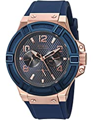 GUESS Mens Stainless Steel Silicone Casual Watch, Color: Rose Gold-Tone/Rigor Blue (Model: U0247G3 )