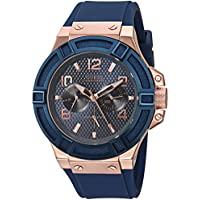 GUESS Men's Stainless Steel Silicone Casual Watch, Color: Rose Gold-Tone/Rigor Blue (Model: U0247G3 )