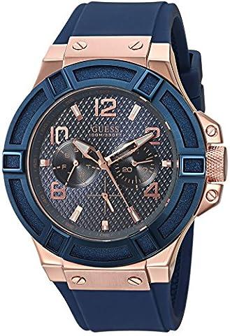 GUESS Men's U0247G3 Rigor Blue & Rose Gold-Tone Silcone Casual Sport Watch (Watch Strap Ring)