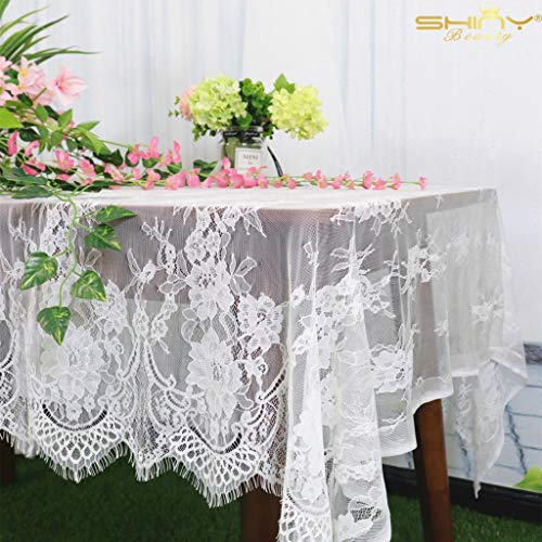 ShinyBeauty Lace Party Tablecloth Rustic Floral Fabric Rectangle Lace Table Cloth Baby Tablecloth Tea Party Tablecloth Fabric Table Cover (1, White-011) (Square Table Cloth Lace)