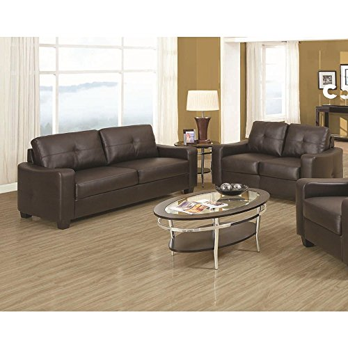 CDecor Jess Leather 3-piece Living Room Collection Black