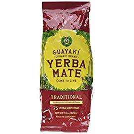 Guayaki Yerba Mate | Organic Alternative to Herbal Tea, Coffee and Energy Drink | Traditional Bags | 40 mg of Caffeine… 9 Rich, robust, and balanced, with a complex earthy mate body, and a smooth mellow finish Uplifting and nourishing choice of health-minded individuals Yerba mate boasts 24 vitamins and minerals, 15 amino acids and abundant antioxidants