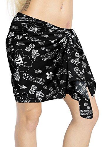 sciarpa breve costume bagno occultamento Nero costumi da da sarong delle mezzo breve bikini mini bagno del di LA del pareo donne avvolgente beachwear i645 LEELA Twz6qFZ