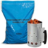 AMOS Chimney Starter 2.3kg Capacity Barbecue Quick Start + 12kg Restaurant Grade Lump Wood Charcoal