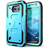 i-BLASON S6 Active Case, [Heave Duty]Slim Protection i-Blason Armorbox [Dual Layer] Hybrid Full-body Protective Case with Front Cover and Built-in Screen Protector / Impact Resistant Bumpers Cover for Samsung Galaxy S6 Active 2015 ReleaseDoes Not Fit Regular Galaxy S6 (Blue)