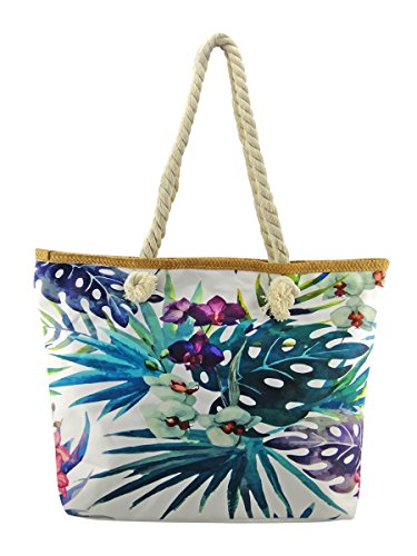 Handles Holiday Beach amp; Tropical Floral Bag White Size Rope Purple Large wPH87O68
