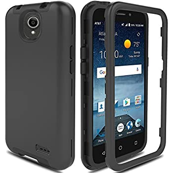 newest collection 435fc e124b ZTE Maven 3 Case, ZTE Overture 3 Case, ZTE Prestige 2/Prelude Plus 4G LTE  Case AMENQ Hybrid 3 IN 1 Heavy Duty Shockproof Protection Rugged Rubber ...